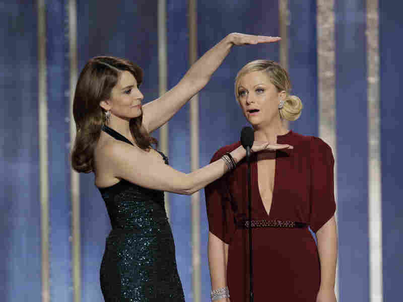 """Amy Poehler (right) and Tina Fey hosted the Golden Globe Awards in 2013 and 2014. Poehler says they have to be """"democratic"""" about who gets to tell which jokes."""