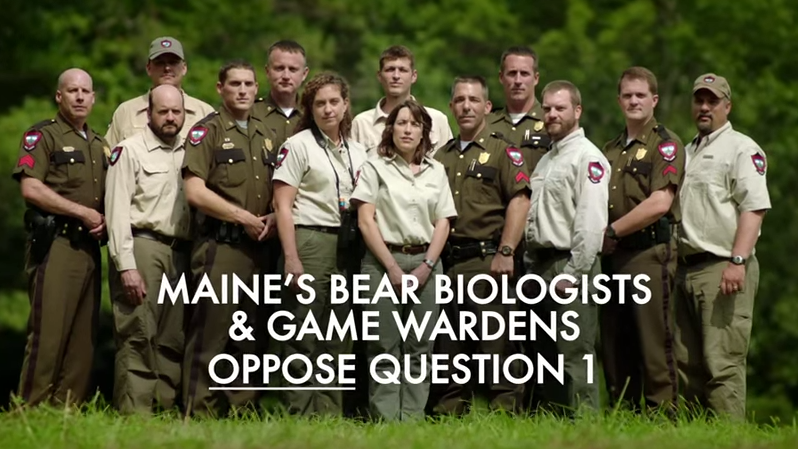A ballot measure in Maine over bear-baiting has drawn ads from both sides of the debate, including this one from the Maine Wildlife Conservation Council, which opposes the measure.