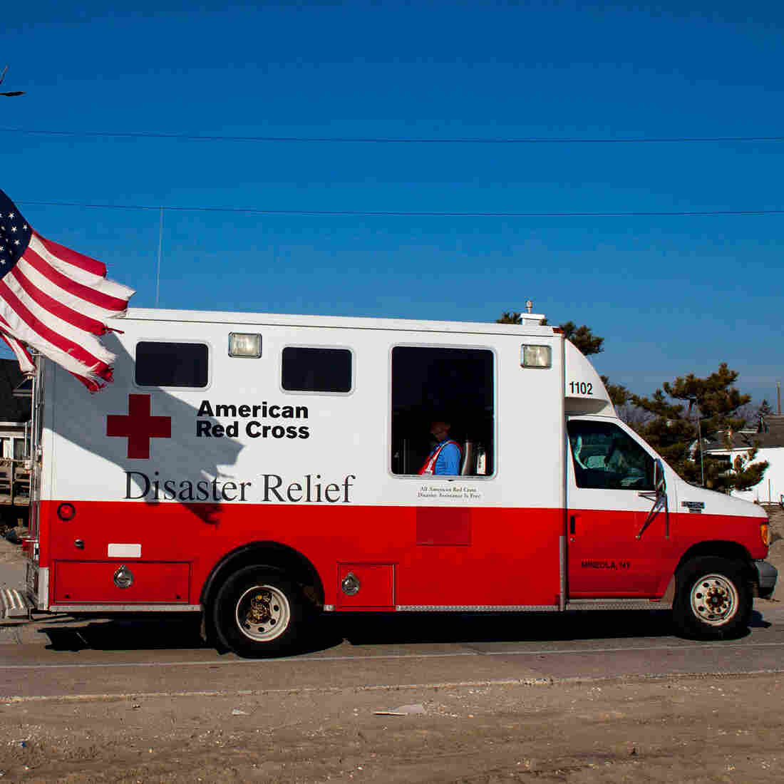 In the aftermath of Superstorm Sandy, a former Red Cross official says, as many as 40 percent of the organization's emergency vehicles were assigned for public relations purposes. This photo, which shows one of the trucks in Long Island, N.Y., in January 2013, is one example of the many publicity photos taken by the Red Cross.