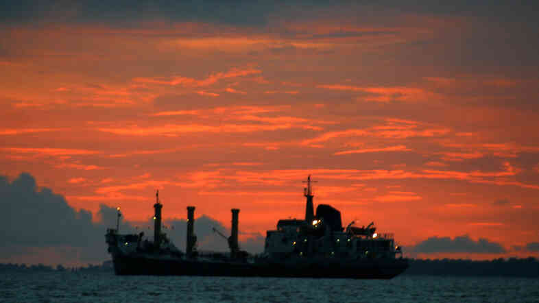 An oil tanker carrying crude oil goes by Port Harcourt, Nigeria.