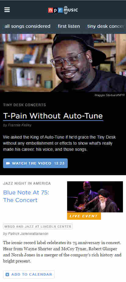 The new NPR Music home page on the phone.