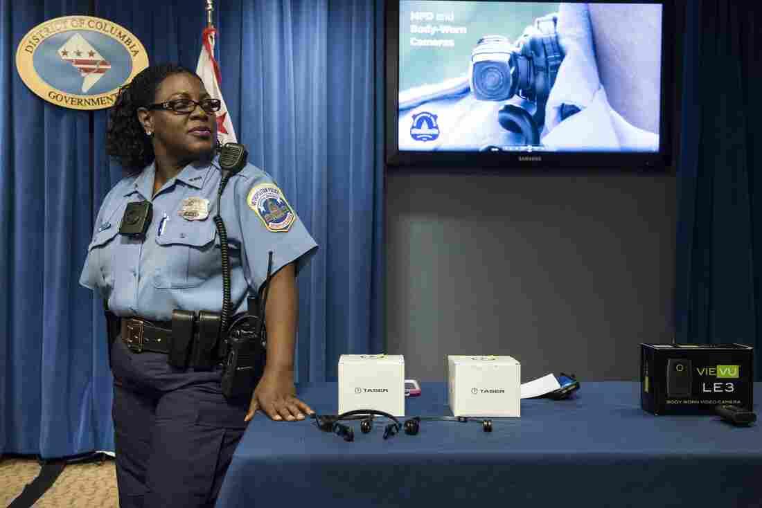 Washington, D.C., police officer Debra Domino wears a body camera at City Hall in September.
