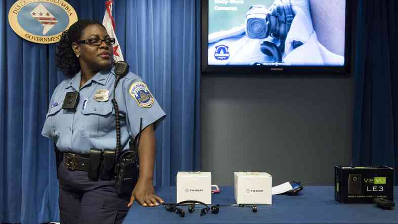 Washington, D.C., police officer Debra Domino wears a body camera at City Hall in September.