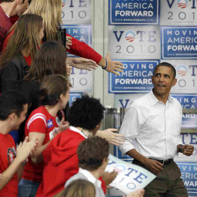 President Obama at a Wisconsin rally in 2010.