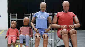 The new crash test dummy — not one of these — will weigh 271 lbs and have a body mass index of 35. Automakers use the dummies to prove their vehicles are roadworthy.