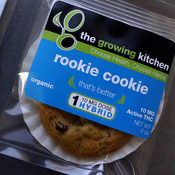 Low-dose pot-infused cookies, called the Rookie Cookie, sit on the packaging table Sept. 26 at The Growing Kitchen, in Boulder, Colo. The state legalized recreational pot use last year.