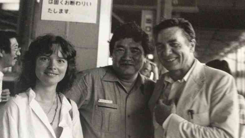 Poet Carolyn Forche stands with her friend and mentor Galway Kinnell (right) during a trip to Japan to attend the Asian Writers Congress in 1983.