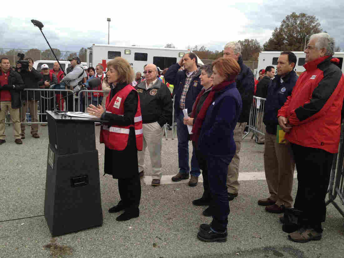 American Red Cross CEO Gail McGovern speaks at a post-Sandy press conference on Staten Island, N.Y. But two pastors, who organized much of that area's relief efforts, say they did so without the aid of the Red Cross.