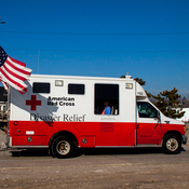 In the aftermath of Superstorm Sandy, a former Red Cross official says, as many as 40 percent of the organization's emergency vehicles were assigned for public relations purposes. This photo, which shows one of the trucks on Long Island, N.Y., in January 2013, is one example of the many publicity photos taken by the Red Cross.