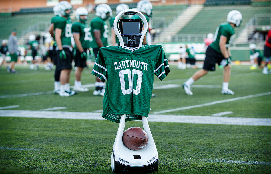 Go Big Green! Dartmouth is testing the VGo robot to help diagnose concussions when neurologists aren't at the game. (Mark Washburn/Courtesy of Dartmouth-Hitchcock)
