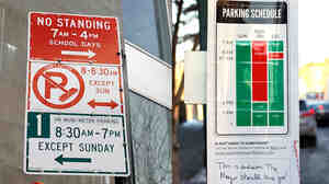 Which parking sign is easier to understand? Nikki Sylianteng is trying to build a better parking sign at her website, To Park Or Not To Park. One of her redesign efforts can be seen at right.