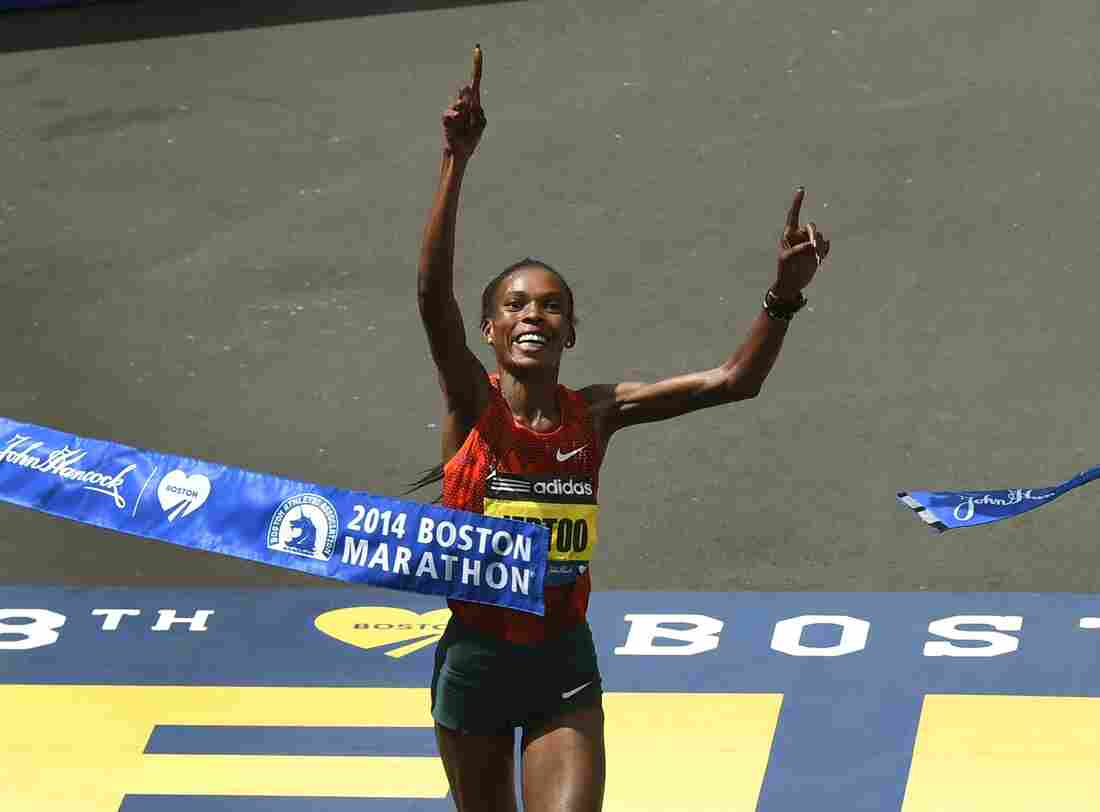 Rita Jeptoo of Kenya crosses the finish line to win the Women's Elite division of the 118th Boston Marathon on April 21.