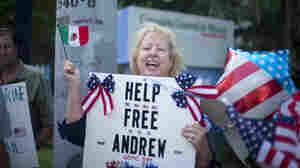 Jill Tahmooressi stands outside the Mexican Consulate in Miami, in May to protest the arrest of her son in Mexico. He was released by a federal judge in Mexico today.