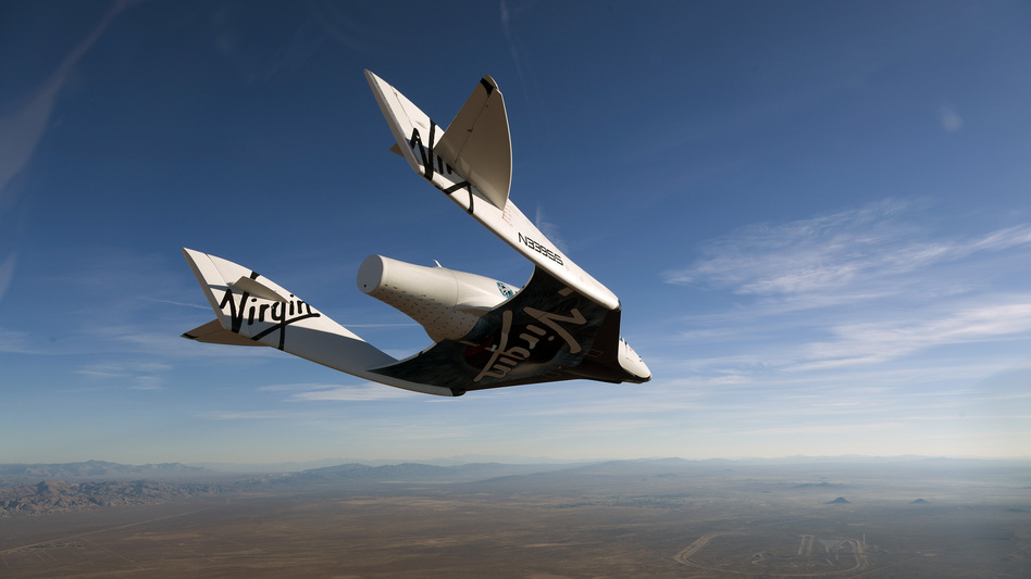 The commercial space ship, pictured here in an earlier test flight, crashed in the California desert. (Mark Greenberg/Virgin Galactic)