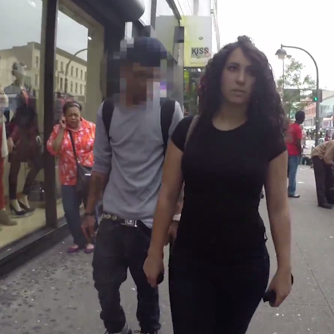 "A viral video called ""10 Hours of Walking in NYC as a Woman"" shows the harassment a woman faces walking the streets of New York. Most of the men who street-harass, catcall, yell and follow the woman are black and Latino."