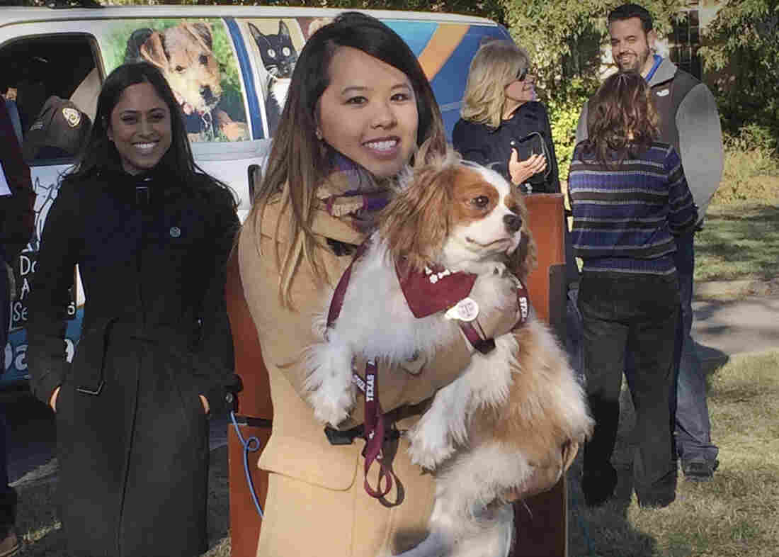 "Ebola survivor Nina Pham is reunited with her dog, Bentley, at the Dallas Animal Services Center Saturday. Pham, a Dallas nurse who survived Ebola, had an emotional reunion Saturday with her ""best friend,"" a Cavalier King Charles spaniel."