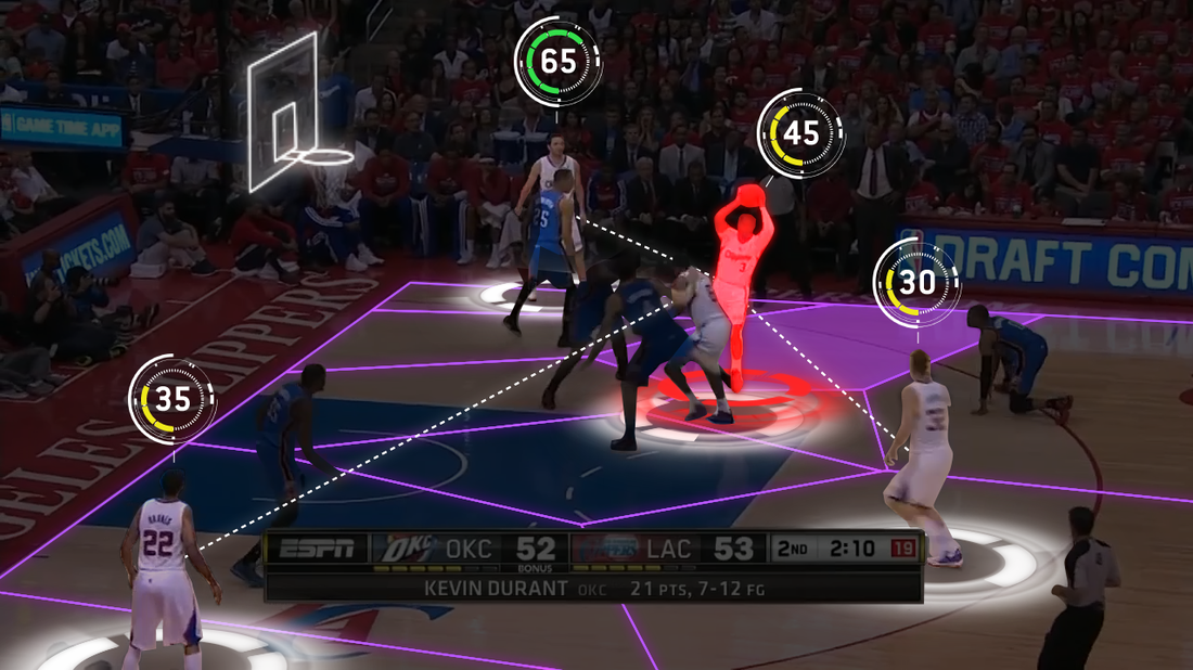 This sample image from Second Spectrum shows the company's data visualizations for the NBA. They crunch game data — past and present — to show live statistics and information during games.