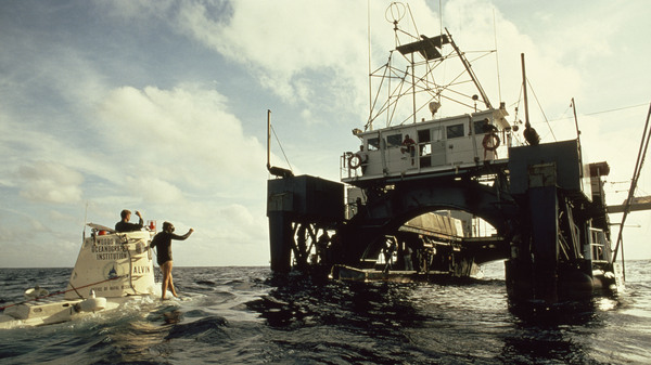 Alvin returns to research ship Lulu after a dive in the Atlantic Ocean over the Mid-Atlantic Ridge, southwest of the Azores, in 2001.