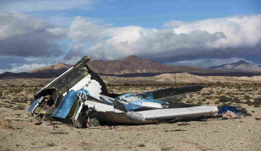 Wreckage lies near the site where a Virgin Galactic space tourism rocket, SpaceShipTwo, exploded and crashed in Mojave, Calif.
