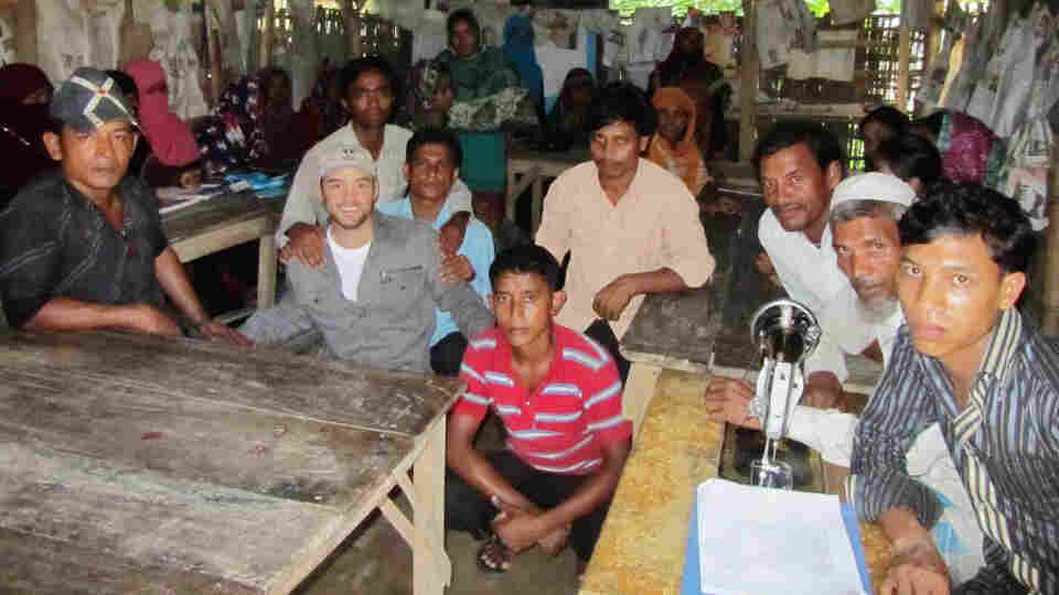 Poet Cameron Conaway (left, in gray cap) visits malaria-hit areas in the Chittagong Tract Hills, Bangladesh, in June 2012.
