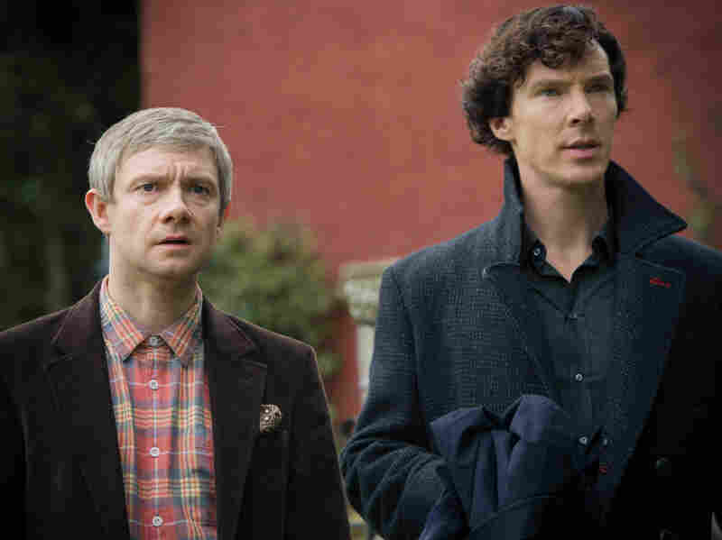 Benedict Cumberbatch, right, and Martin Freeman star as Sherlock Holmes and John Watson on the BBC's crime drama Sherlock.
