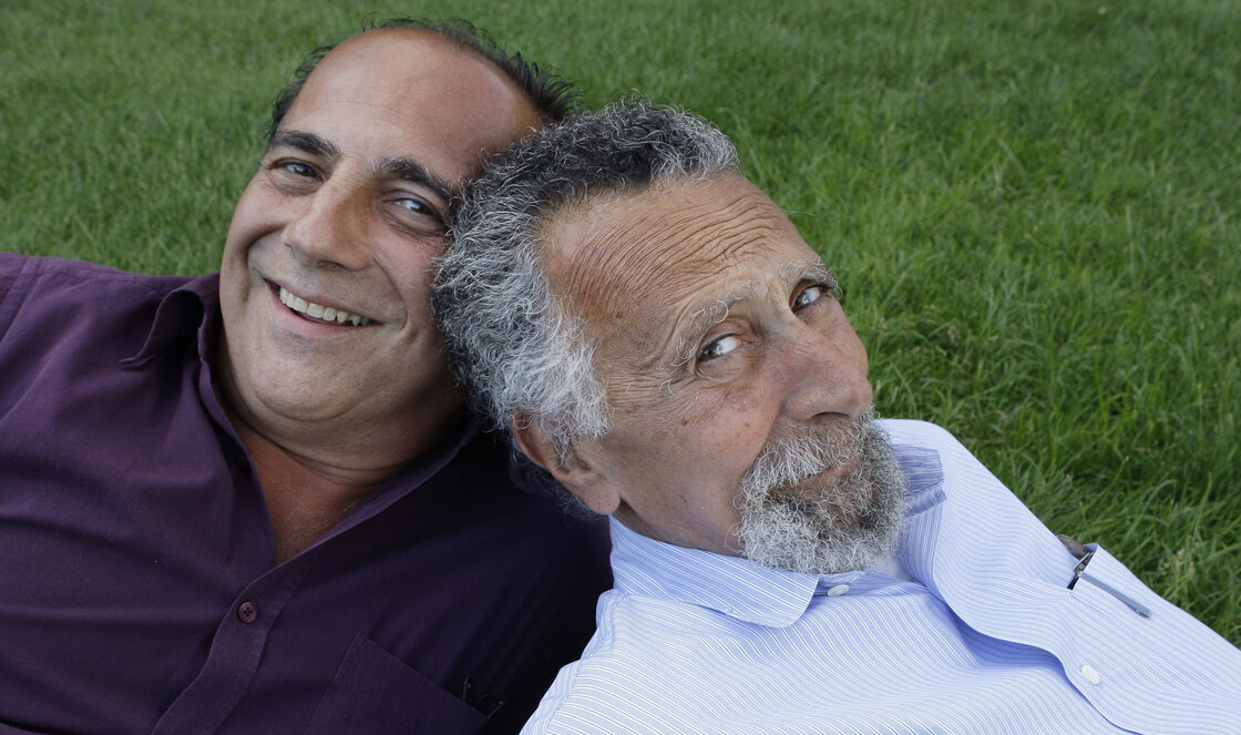 Ray and Tom (right) Magliozzi, co-hosts of NPR's Car Talk show, pose for a photo in Cambridge, Mass., in 2008. Tom died Monday of complications from Alzheimer's disease. He was 77.