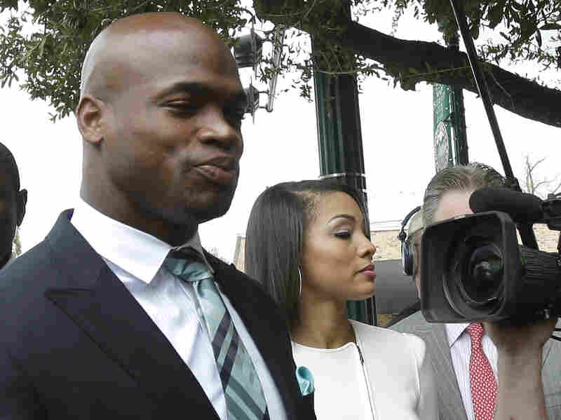 Minnesota Vikings running back Adrian Peterson arrives at the courthouse for an appearance Tuesday in Conroe, Texas. He pleaded no contest in his child abuse case, avoiding jail time.