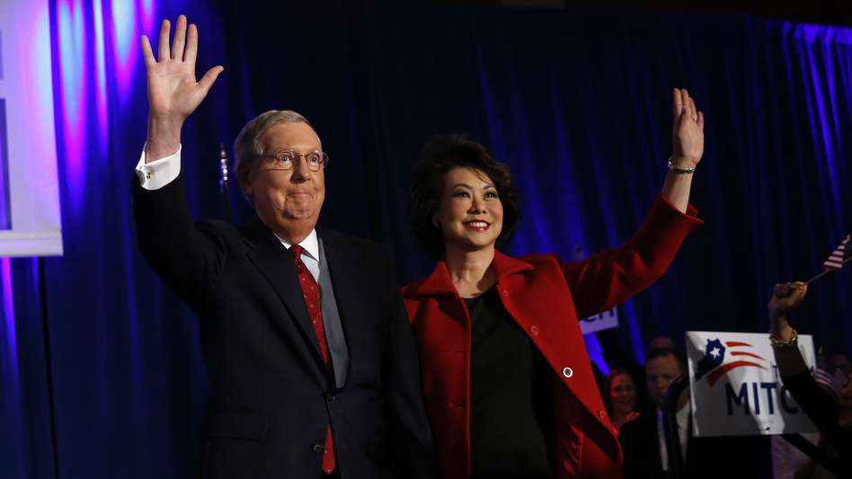 Kentucky Sen. Mitch McConnell arrives at his midterm election night rally with his wife, former U.S. Secretary of Labor Elaine Chao, in Louisville. McConnell, who won re-election, stands to become the next Senate majority leader. (Shannon Stapleton/Reuters /Landov)