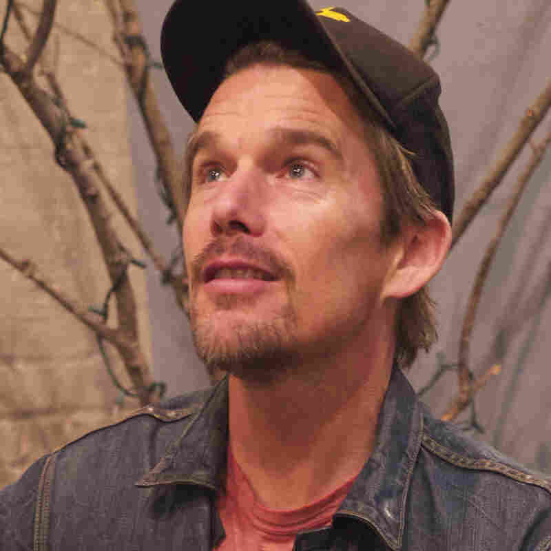 Ethan Hawke, backstage at The Bell House in Brooklyn, N.Y. Later, he would serenade Ask Me Another's winning contestant.