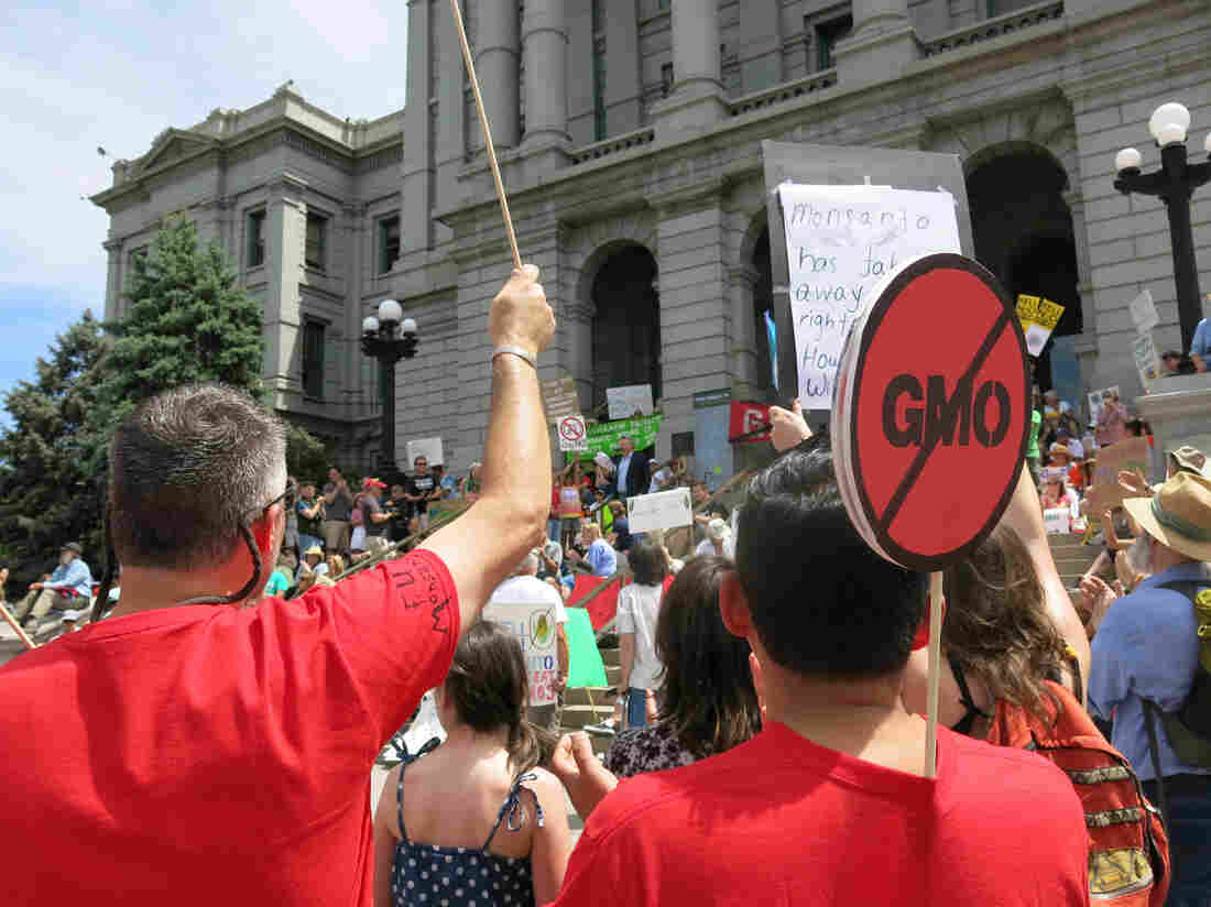 Supporters of efforts to label GMOs in foods turn out at a rally in Denverin 2013. A ballot measure that would such labels failed to pass by a wide margin Tuesday.