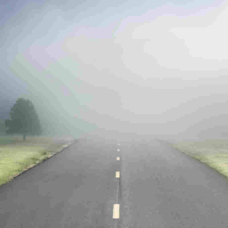 A road disappearing into the fog.