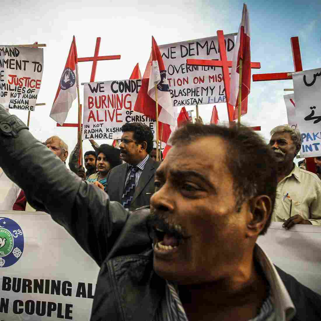 Pakistani Christians in Islamabad protest the killing of a Christian couple who were burned alive for alleged blasphemy. Pakistan has had multiple cases of vigilante killings against people accused of blasphemy against Islam.