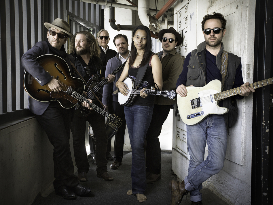 To create <em>Lost on the River: The New Basement Tapes</em>, T Bone Burnett (third from left) assembled the talents of Elvis Costello, Jim James, Jay Bellerose, Rhiannon Giddens, Marcus Mumford and Taylor Goldsmith.