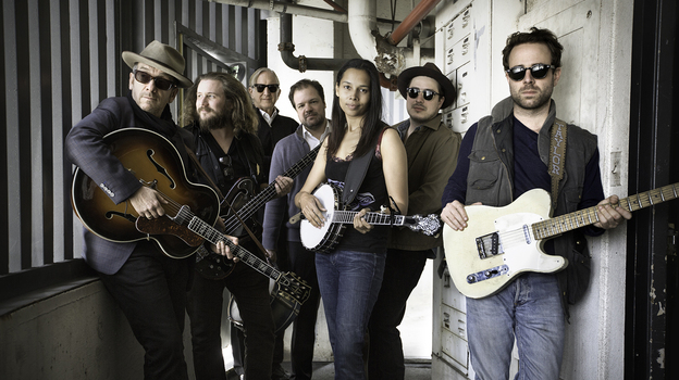 To create Lost on the River: The New Basement Tapes, T Bone Burnett (third from left) assembled the talents of Elvis Costello, Jim James, Jay Bellerose, Rhiannon Giddens, Marcus Mumford and Taylor Goldsmith. (Courtesy of the artist)