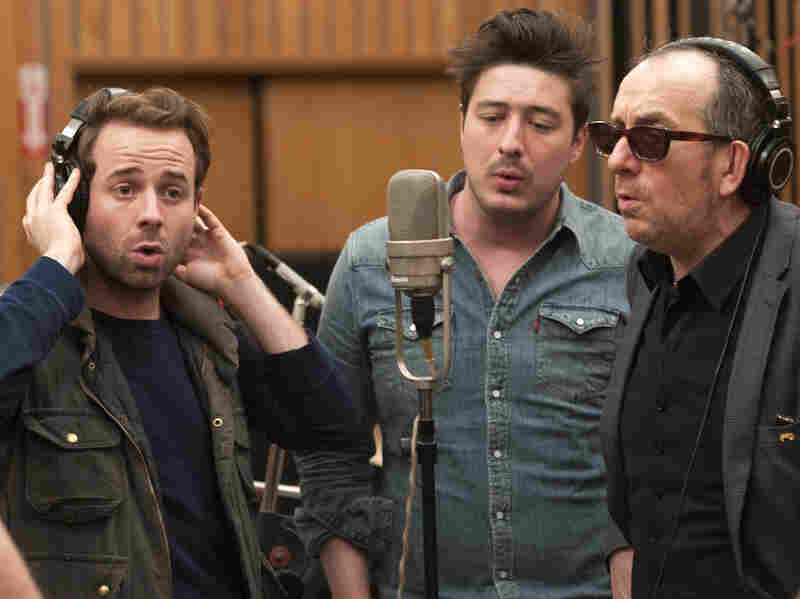 Taylor Goldsmith, Marcus Mumford and Elvis Costello in the studio.