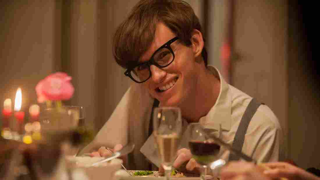 Eddie Redmayne plays astrophysicist Stephen Hawking in The Theory of Everything.