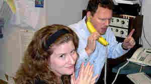 """Morning Edition staff, including Melissa Gray and Barry Gordemer, shown here in 2002, aren't immune to mistakes€"""" or sheer silliness."""