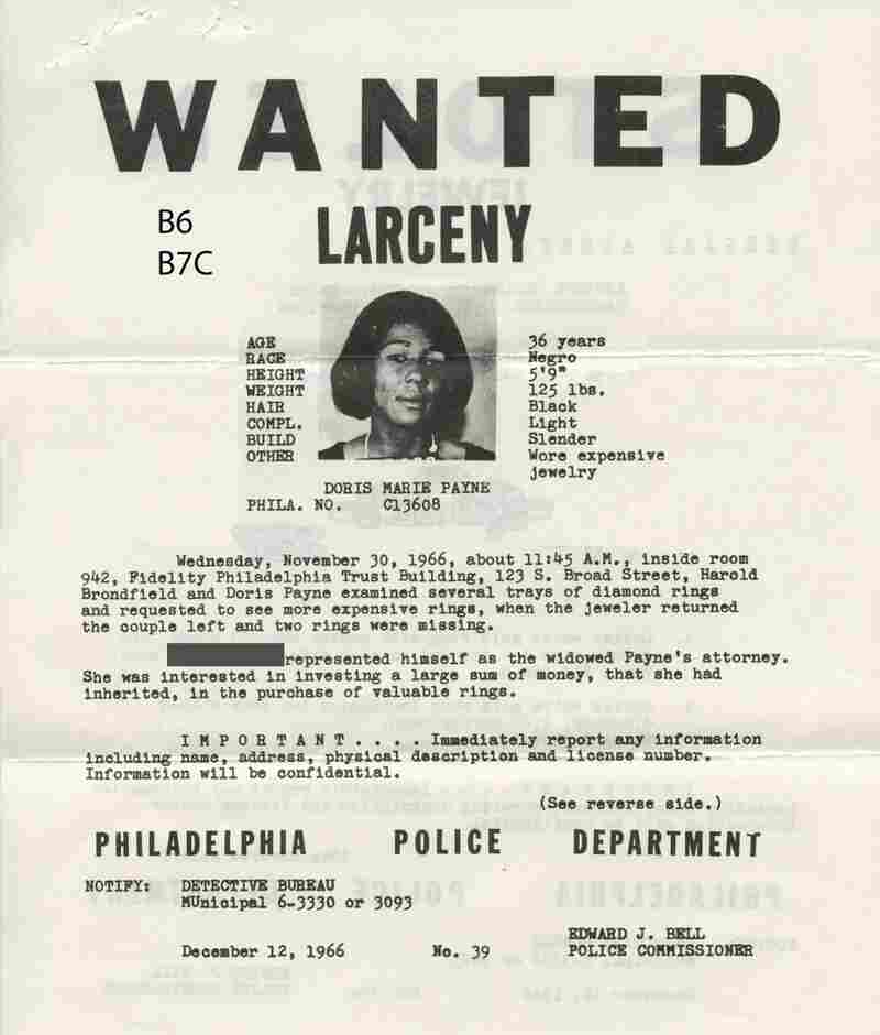 During her long career Payne was arrested and served jail time multiple times. This wanted poster is from December 1966.