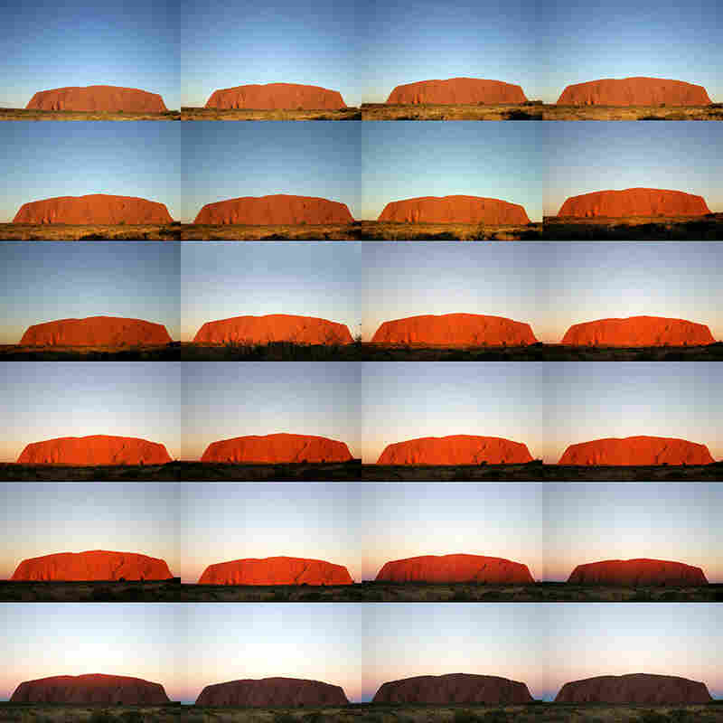 What color is Uluru? A sunset series of photos of the iconic rock of central Australia, taken over a 40-minute period, reveals the color-shifting power of illumination.