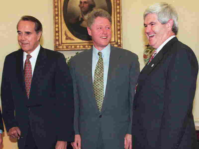 President Bill Clinton meets with Sen. Bob Dole (left) and Rep. Newt Gingrich at the White House in December 1994.