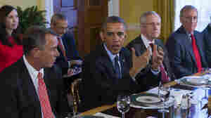 President Obama meets with congressional leaders in the Old Family Dining Room of the White House on Friday. The president signaled a desire for bipartisan cooperation, but important differences remain between the White House and GOP lawmakers.