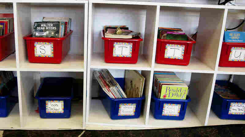 These books for daily, independent reading have been sorted by difficulty and labeled with letters. Popular writers, including Dahl and Rowling, get their own bins.