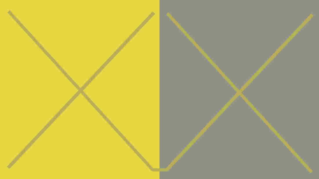 This is a re-creation of a color plate from Interaction of Color, by Josef Albers. The two X's are are exactly the same — it's the different backgrounds that make them look like very different colors.