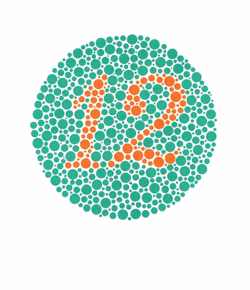 These slides are part of a common screening test for colorblindness. Viewers with normal vision and those with color vision deficiencies usually see the number 12 in this one.