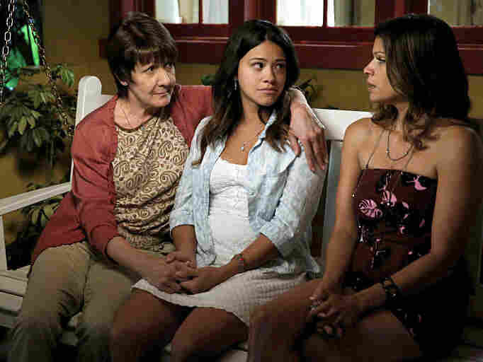 Ivonne Coll, Gina Rodriguez and Andrea Navedo star in Jane The Virgin from the CW.