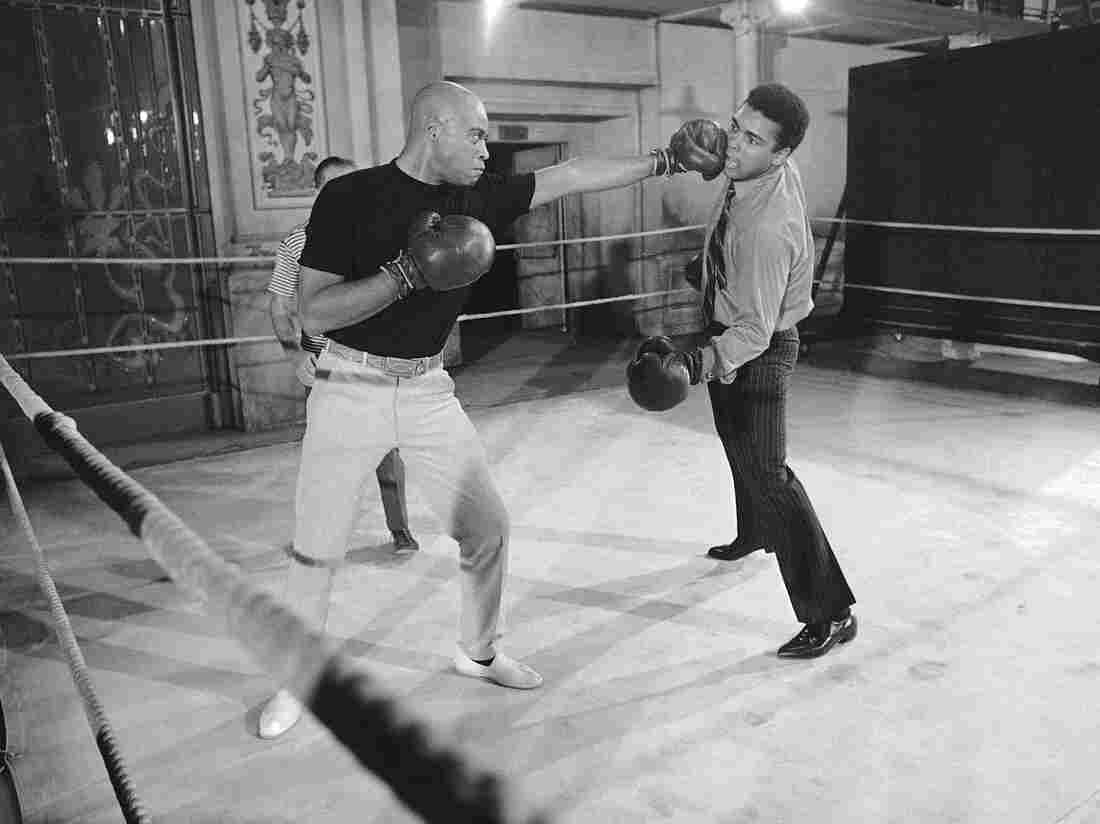 Muhammad Ali (right) takes on James Earl Jones in the ring. When this photo was captured in 1969, Jones was making the film The Great White Hope and Ali dropped by to help drum up publicity.