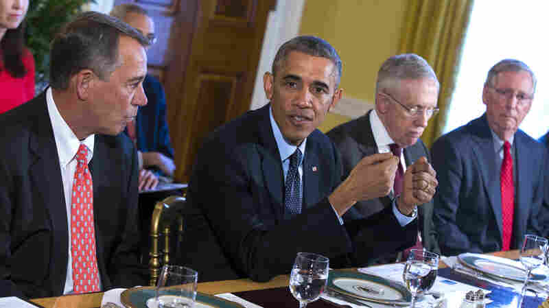 In this Nov. 7 photo, President Barack Obama meets with Congressional leaders in the Old Family Dining Room of the White House in Washington. From left are House Speaker John Boehner of Ohio, Obama, Senate Majority Leader Harry Reid of Nevada and Senate Minority Leader Mitch McConnell of Kentucky.