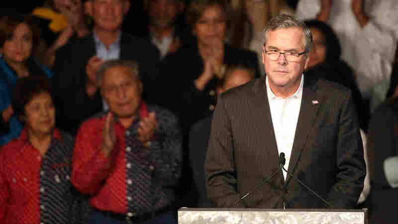 Former Florida Gov. Jeb Bush pauses while speaking during a voting rally for state Republican candidates in Castle Rock, Colo., on Oct. 29.