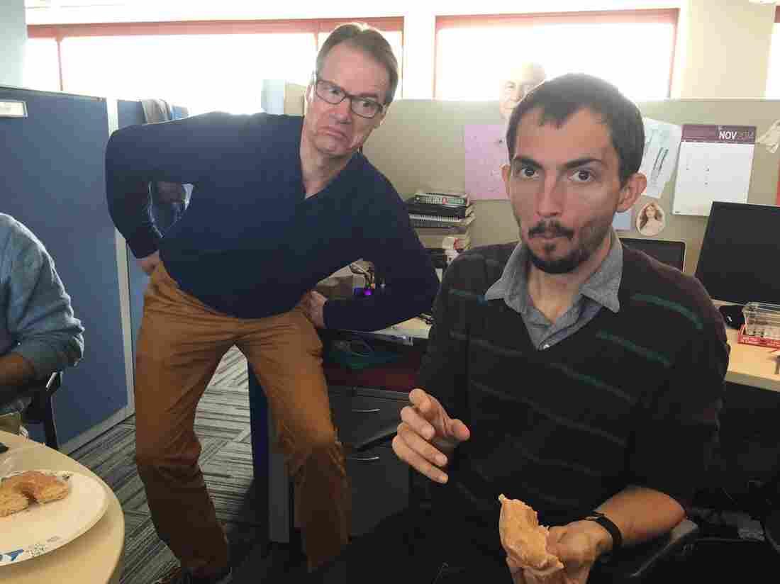Ian is a doughnut fan. Robert is a little teapot, short and stout.