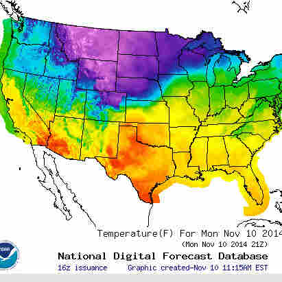 A map by the National Weather Service predicts winter weather spreading through the north-central U.S. Monday, and spreading east.